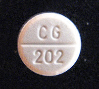 White tablet with CG 202 imprinted on it